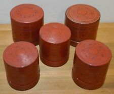 Beautiful Group Of Five (5) Antique Lacquer Southeast Asia Betel Nut Boxes
