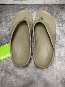 Crocs Mens Swiftwater Deck Flip Men Khaki Stucco Relaxed Fit Sz 12