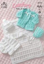 King Cole DK 4Ply Knitting Pattern Baby Coat Cardigan Bonnet Hat Pram Cover 3115