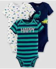 3 Pack Carters Bodysuits Size 3 Months Dinosaurs Blue Teal Gift Shower Happy S11