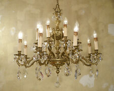 SHINY BRASS SPANISH CHANDELIER CRYSTAL VINTAGE FIXTURES 16 LIGHT