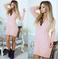 Damen Sexy V-Ausschnitt Pullikleid Pulli Strickkleid Bleistiftkleid Party Kleid
