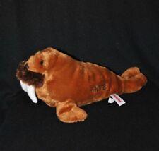 "Peluche doudou morse ""CHILE"" AURORA brun marron dents blanches 30 cm long NEUF"