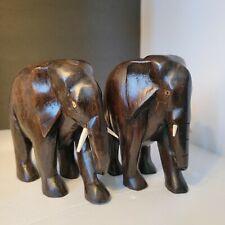Rare Vintage 2 Hand Carved Thailand Solid Teak Wood Elephant Statue ironwood
