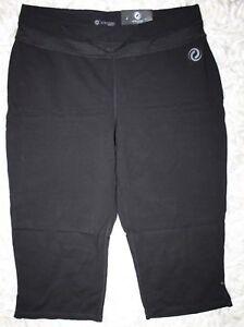Penningtons Active Zone Basic Relaxed Capri Leggings Flare Leg 1X 18/20 Black