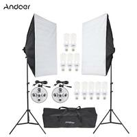 Photo Studio Lighting Kit Continuous Bulb Video Light Tripod Stand Softbox W/Bag