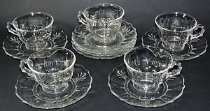 FOSTORIA CUPS (5) AND SAUCERS (8)  BAROQUE
