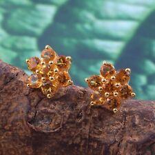 Flower Citrine Stud Earrings Handmade Statement Delicate 18k Gold Plated Silver