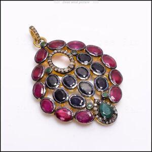 Natural Sapphire, Ruby, Emerald Gemstone 925 Silver Pave Diamond Fine Pendant