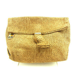 Borbonese Clutch bag Beige Brown Woman Authentic Used D1444