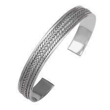 Armreif Flechtmuster 925 Sterling Silber Längenverstellbar Oxidiert Gestempelt
