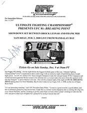 Frank Mir Signed UFC 81 Press Release BAS Beckett COA Auto'd 2008 v Brock Lesner