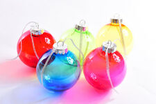 Multi Coloured Glass Style Baubles 80mm Pack of 10 - Personalised, Christmas,