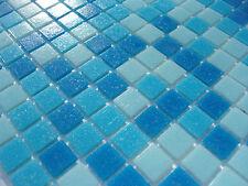 1qm glas-mosaik fliesen pool dusche bad AZUR blau hellblau dunkelblau sauna mix