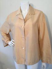 Louis Feraud Contraire Blouse Shirt Top Button Down Beige/Gold Size 10-12 Vtg