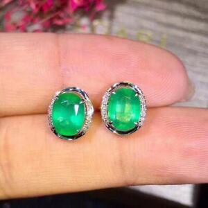 Certified Fashion Natural Columbia Emerald Earrings 925 Silver Birthday Gift