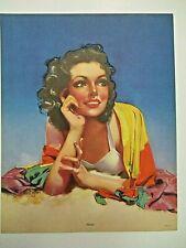 Original 1940's Zoe Mozert SHIRLEY-pin up calendar print-brunette beach beauty