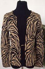 NWT Jones New York Women's Black Gold Zebra Print Cardigan Jacket Sz M.Ret. $139