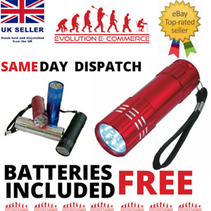 MINI ULTRA BRIGHT ALUMINIUM 9 LED POCKET LIGHT FLASHLIGHT CAMPING TORCH UK