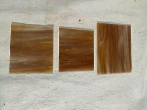 3 Antique Vintage Amber Slag Stained Glass & Slag Lamp Panel Pieces