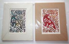 Linoleum Block Print Set of 2 Scott Murray Mieshiel Taos Artist The Raven Signed