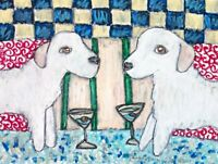 Kuvasz Drinking a Martini Art Print 8x10 Signed by Artist Kimberly Helgeson Sams