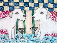 KUVASZ Drinking a Martini Dog Pop Art Giclee Print 8 x 10 Ltd Ed Signed by KSAMS