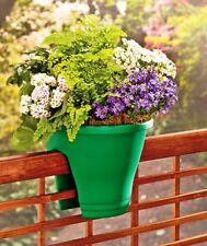 Green Deck Rail Planter Porch Fence Flower Pot Outdoor Home Decor. Set Of Two
