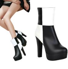 Women Fashion Patchwork Block High Heel Platform Round Toe Zip Ankle Boots Pumps