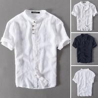 Mens Linen Short Sleeve Shirt Henley Collarless Loose Shirts Tops T Shirt Tee UK