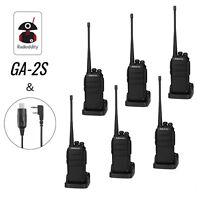 6pcs Radioddity GA-2S UHF 16Channel 1500mAh TOT Voice Prompt Talkie Walkie DHL