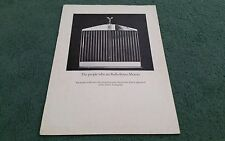 1974 1975 1976 ROLLS ROYCE THE PEOPLE WHO ARE ROLLS ROYCE MOTORS UK BROCHURE