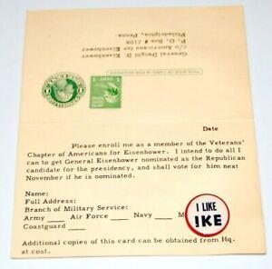 1952 DWIGHT EISENHOWER I LIKE IKE VETERANS CHAPTER pin pinback button campaign