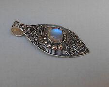 Genuine Gemstone Moonstone Sterling Silver Pendant/ Balinese Handmade Jewellery