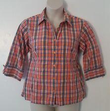 Carolina Colours Orange Blue Plaid 3/4 Sleeve Button Down Shirt Plus Size 16W