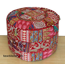 New Indian Vintage Handmade Red Round Ottoman Pouf Cover Patchwork Footstool