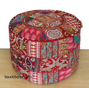 """22"""" Indian Vintage Handmade Red Round Ottoman Pouf Cover Patchwork Footstool"""