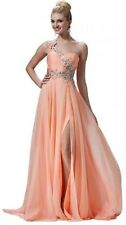 Beaded Evening Dress Gown Homecoming Prom Size 16 One Shoulder High Slit