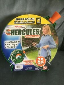 AS SEEN ON TV HERCULES GARDEN HOSE 25 FEET WITH WIND-UP REEL STAINLESS STEEL