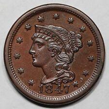 1847/47 N-18(a) R-5 E-MDS Braided Hair Large Cent Coin 1c
