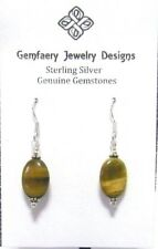 Sterling Silver Oval TIGER'S EYE Gemstone Dangle Earrings #1475...Handmade USA