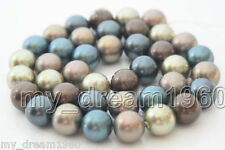 "10mm Genuine Multi-Color South Sea Shell Pearl Loose Beads 15 ""AAA"