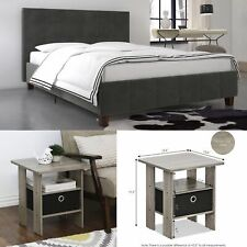 3 Piece Queen Size Bedroom Set Furniture Modern Design Fabric Bed Headboard Grey