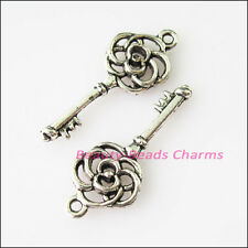 10Pcs Antiqued Silver Tone Flower Keys Charms Pendants 10.5x27mm