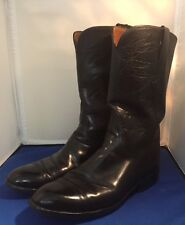 Lucchese Cowboy Western Roper Boots Black Leather Vibram Soles Sz 8.5D