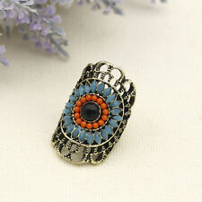 Fashion Punk Women Big Eye Design Crystal Copper Rings Finger Ring Jewelry Gift