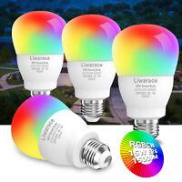 1-4pcs Wifi Smart LED Light Bulb 15W E26 RGBW Dimmable for iOS/Alexa/Google/Siri