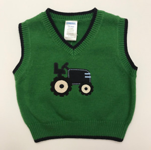 Gymboree Baby Boy 3-6 Months Sweater Vest Tractor Green Spring