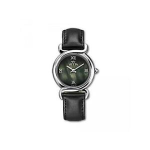 VETTA CHARME Womens Watch VW0128 Leather Black MOther Of Pearl Sapphire Lady