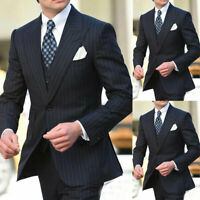 Men Black Pinstriped Suits Formal Business Wide Lapel Tuxedos 3 Pieces Tuxedos